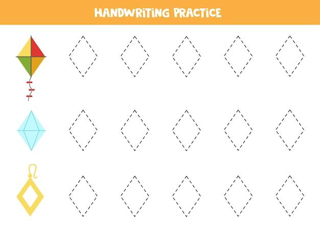 Traçando contornos de objetos de losango. prática de caligrafia para crianças.