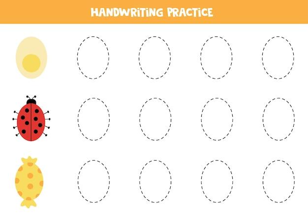 Traçando contornos de objetos ovais de desenho animado. prática de caligrafia para crianças.
