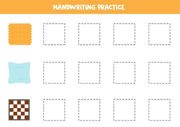 Traçando contornos de objetos quadrados. prática de caligrafia para crianças.