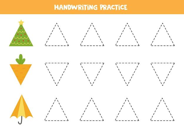 Traçando contornos de objetos triangulares. prática de caligrafia para crianças.
