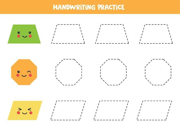 Traçando contornos de trapézio bonito, octógono, paralelogramo. prática de caligrafia para crianças.