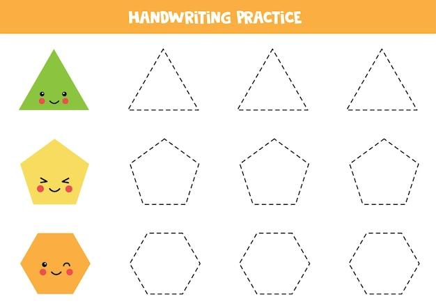 Traçando contornos de triângulo fofo, pentágono, hexágono. prática de caligrafia para crianças.