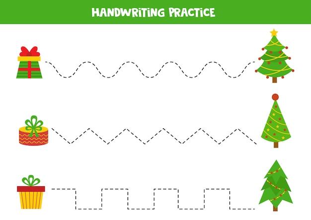 Traçando linhas com árvores de natal e caixas de presente. planilha educacional. prática de soleiras de escrita. Vetor Premium