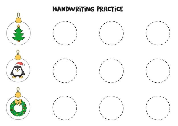 Traçando linhas com bolas de natal bonito dos desenhos animados. prática da escrita.