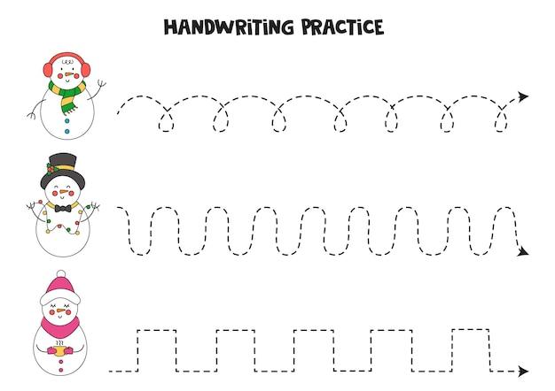 Traçando linhas com bonecos de neve bonitos dos desenhos animados. prática da escrita.