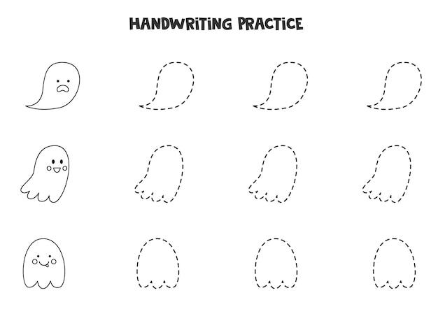 Traçando linhas com fantasmas bonitos em preto e branco. prática da escrita.