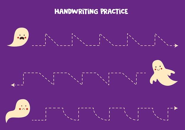 Traçando linhas com fantasmas fofos. prática da escrita.