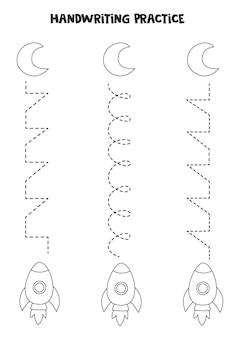 Traçando linhas com foguete preto e branco bonito. prática da escrita.