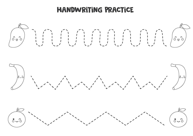 Traçando linhas com frutas pretas e brancas bonitas. prática da escrita.