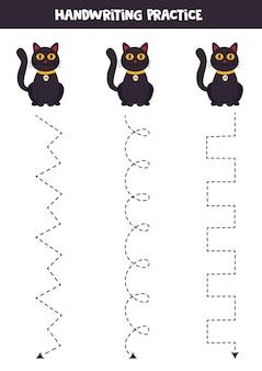 Traçando linhas com gatos pretos bonitos. prática da escrita.