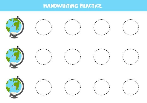 Traçando linhas com globos bonitos. prática da escrita.
