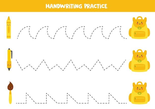 Traçando linhas com mochila bonita e material escolar. prática da escrita.