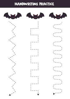 Traçando linhas com morcegos bonitos. prática da escrita. Vetor Premium