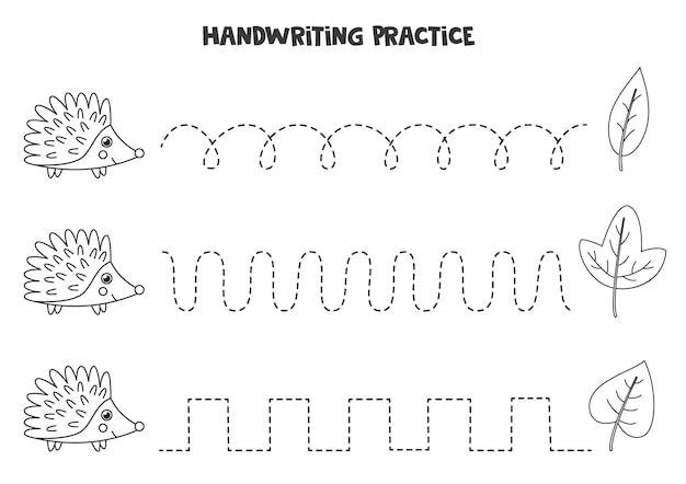 Traçando linhas com ouriço preto e branco bonito. prática da escrita.