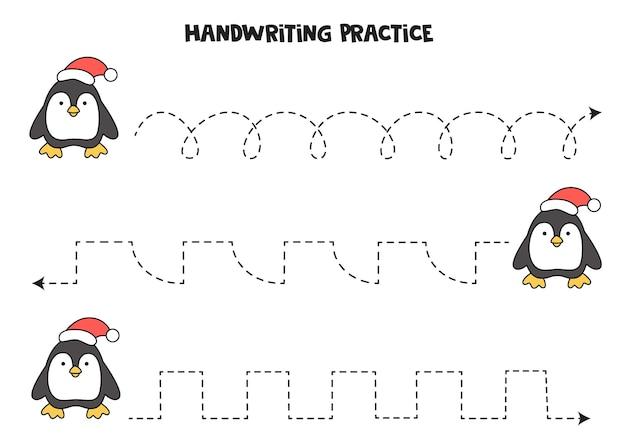 Traçando linhas com pinguim bonitinho. prática da escrita.