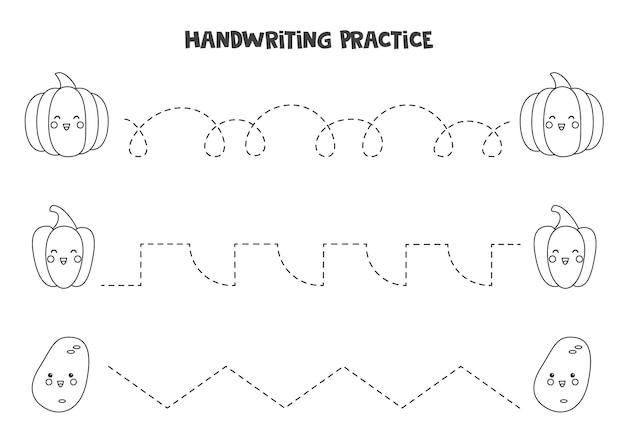Traçando linhas com vegetais bonitos em preto e branco. prática da escrita.