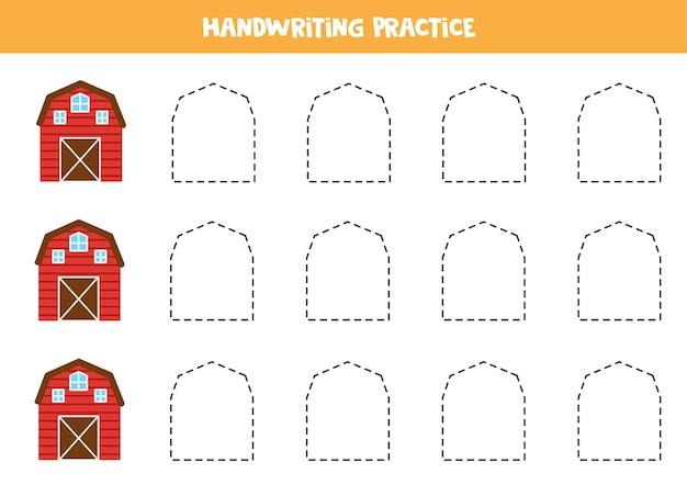 Traçando linhas para crianças com a prática de escrita manual de uma fazenda