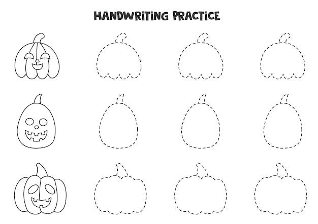 Traçando linhas para crianças com abóboras de halloween em preto e branco. prática de caligrafia para crianças.
