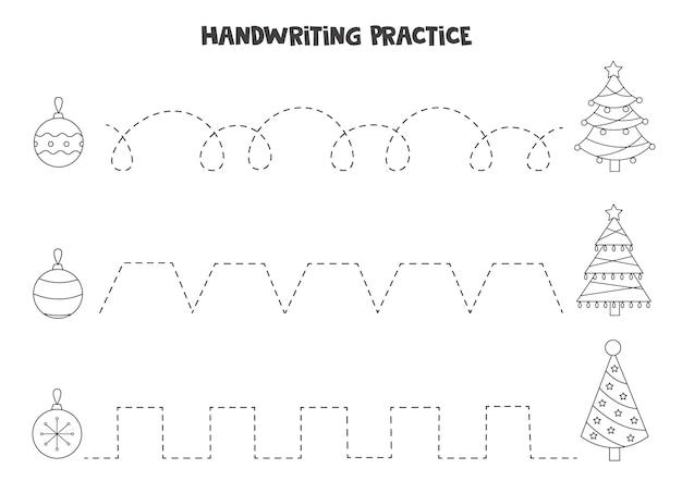 Traçando linhas para crianças com árvores de natal em preto e branco e bugigangas. prática de caligrafia para crianças.