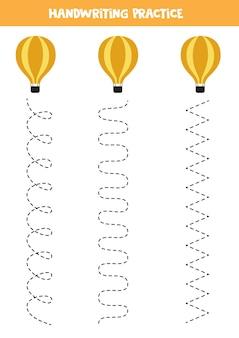 Traçando linhas para crianças com balão de ar quente. prática de caligrafia para crianças.