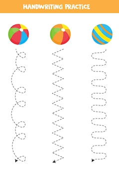 Traçando linhas para crianças com bolas coloridas. prática de caligrafia para crianças.