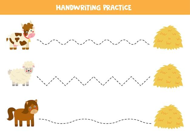 Traçando linhas para crianças com bonitos animais de fazenda e pilha de feno.