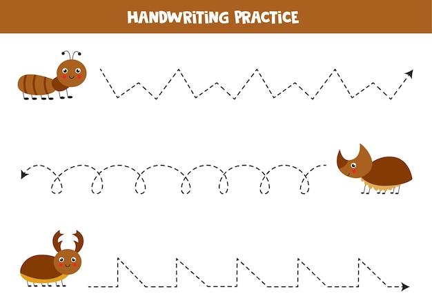 Traçando linhas para crianças com bonitos insetos marrons. prática de caligrafia para crianças.