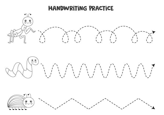 Traçando linhas para crianças com bonitos insetos pretos e brancos. prática de caligrafia para crianças.