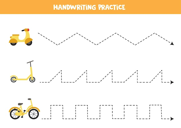 Traçando linhas para crianças com ciclomotor de desenho animado, scooter e bicicleta. prática de caligrafia para crianças.