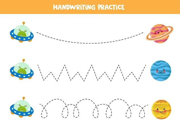 Traçando linhas para crianças com desenhos animados de ovnis e planetas. prática de caligrafia para crianças.
