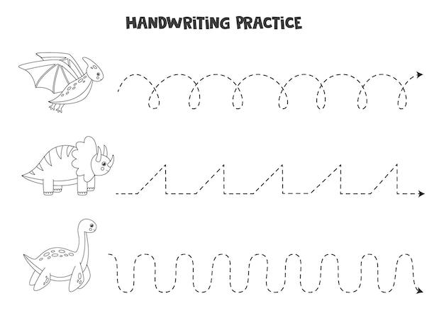 Traçando linhas para crianças com dinossauros fofos. prática de caligrafia para crianças.
