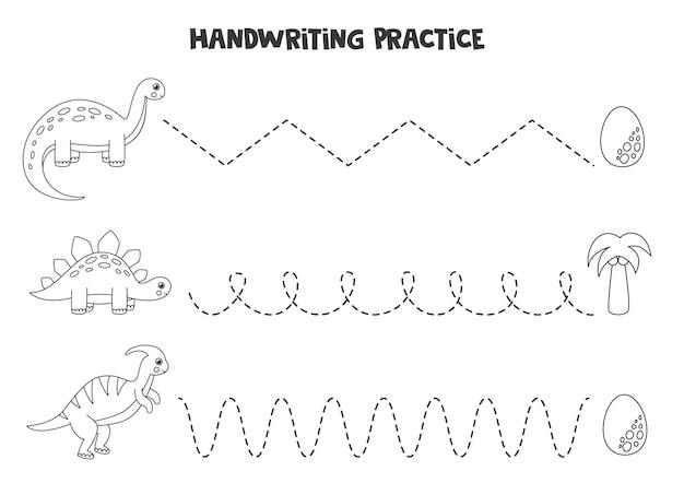 Traçando linhas para crianças com dinossauros pretos e brancos bonitos. prática de caligrafia para crianças. Vetor Premium