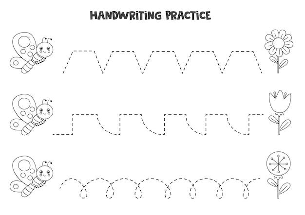 Traçando linhas para crianças com flores e borboletas pretas e brancas fofas. prática de caligrafia para crianças.