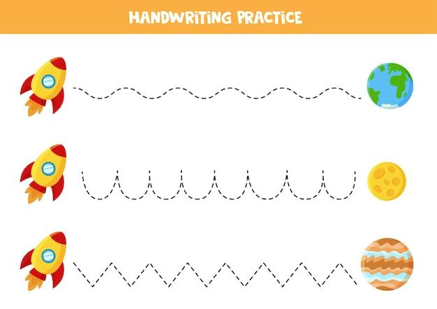 Traçando linhas para crianças com foguetes e planetas dos desenhos animados. prática de caligrafia para crianças.