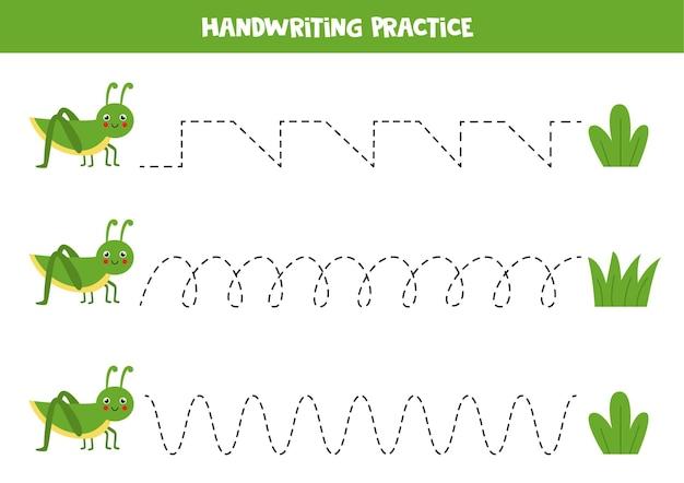 Traçando linhas para crianças com gafanhoto bonito e grama. prática de caligrafia para crianças.