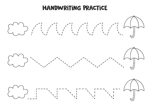 Traçando linhas para crianças com guarda-chuva e nuvem preta e branca bonita. prática de caligrafia para crianças.
