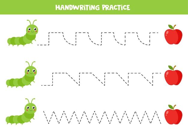 Traçando linhas para crianças com lagarta e maçã dos desenhos animados. planilha de verão.