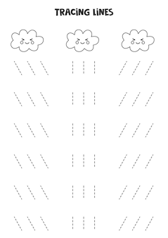 Traçando linhas para crianças com lindas nuvens kawaii em preto e branco. prática de caligrafia para crianças.