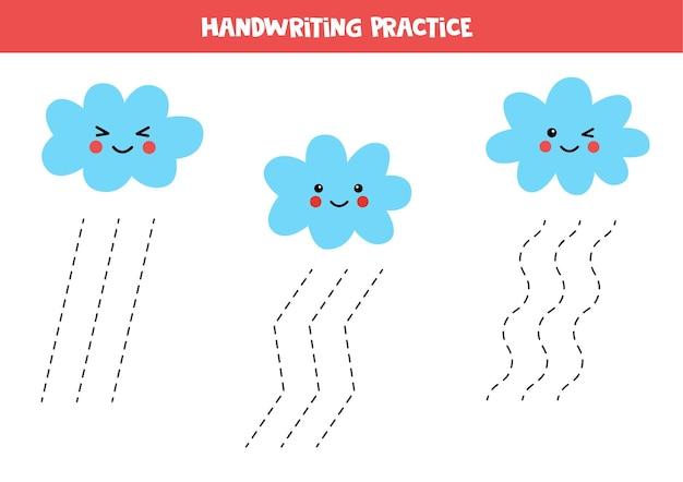 Traçando linhas para crianças com lindas nuvens kawaii. prática de caligrafia para crianças.