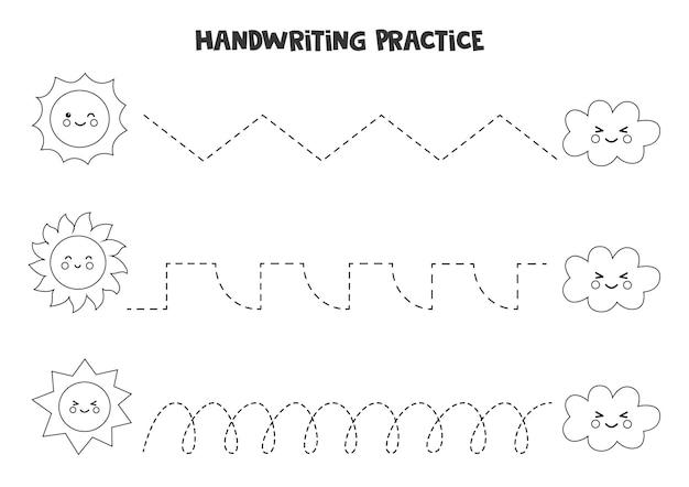 Traçando linhas para crianças com nuvens e sol preto e branco bonito. prática de caligrafia para crianças.