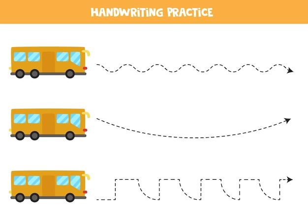 Traçando linhas para crianças com ônibus de desenho animado. prática de caligrafia para crianças.