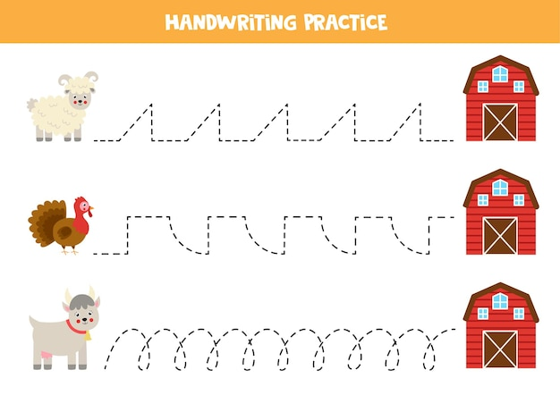 Traçando linhas para crianças com ovelhas, perus e cabras indo para a casa da fazenda. prática de caligrafia para crianças.