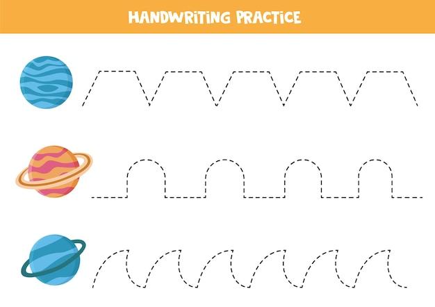 Traçando linhas para crianças com planetas de desenho animado netuno, saturno e urano. prática de caligrafia para crianças.