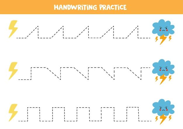 Traçando linhas para crianças com relâmpagos e nuvens raivosas. prática de caligrafia para crianças.
