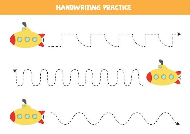 Traçando linhas para crianças com submarino de desenho animado. prática de caligrafia para crianças.