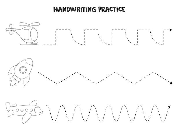 Traçando linhas para crianças com transporte aéreo. prática de caligrafia para crianças.