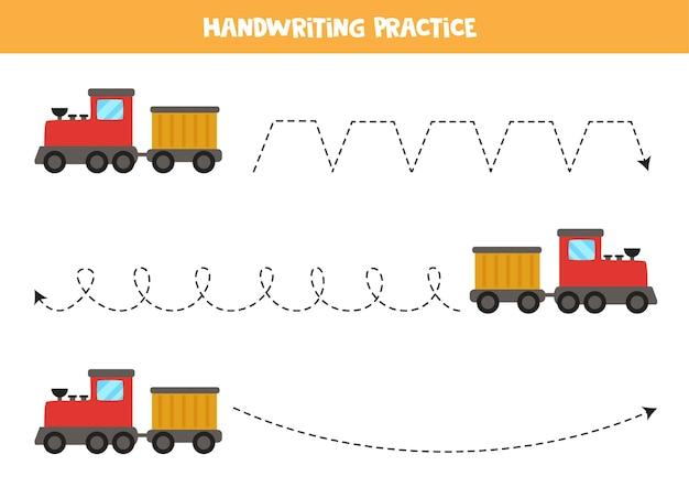 Traçando linhas para crianças com trem de desenho animado. prática de caligrafia para crianças.