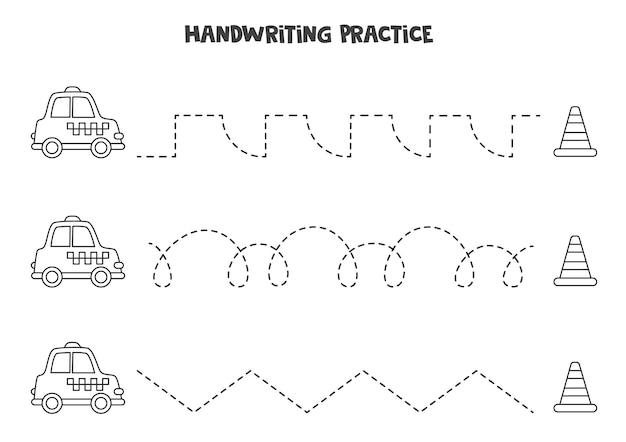 Traçando linhas para crianças com um lindo táxi preto e branco e um cone de trânsito. prática de caligrafia para crianças.