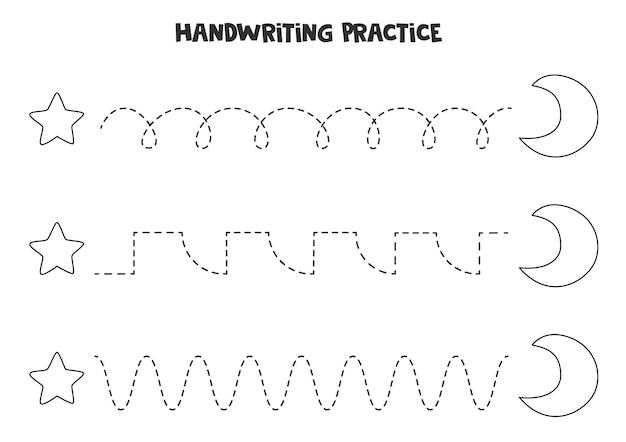 Traçando linhas para crianças com uma estrela e uma lua crescente em preto e branco. prática de caligrafia para crianças.