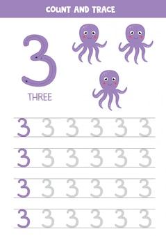 Traçando o número 3. polvo roxo dos desenhos animados. jogo educativo.